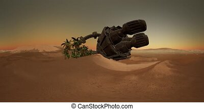 VR360 old rusted alien spaceship in desert. ufo - old rusted...