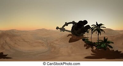 old rusted alien spaceship in desert landscape. ufo. ready for use in virtual reality