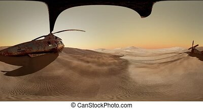 VR360 old rusted military helicopter in the desert at sunset...