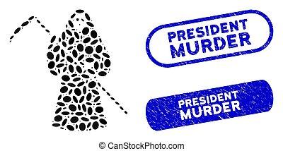 vražda, eliptický, poštovní známky, koláž, grunge, předseda,...
