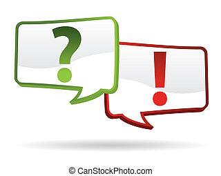 vraag, en, antwoord, tekens & borden
