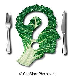 vraag, eten, gezonde