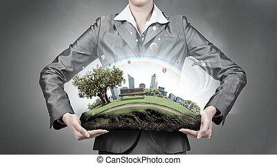 vraag, van, milieu, en, moderne, leven, ., gemengde media