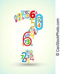 vraag, vector, mark, gekleurde, lettertype, getallen