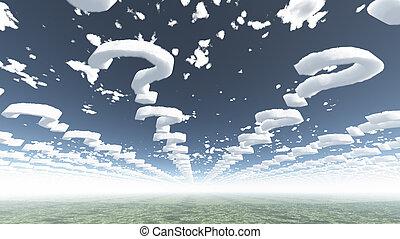 vraag, vorm, wolken, tekens