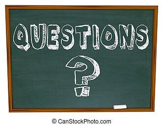 vraag, woord, chalkboard, mark