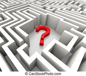 vraagteken, in, doolhof, optredens, verwarring