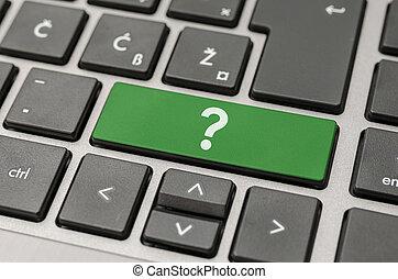 vraagteken, op, computer toetsenbord