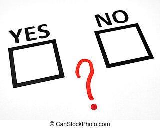 vraagteken, tussen, ja, nee, checkbox