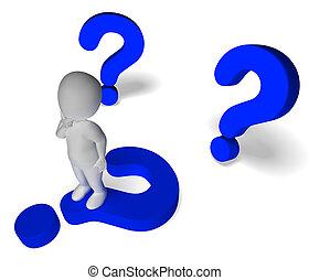 vraagtekens, ongeveer, man, het tonen, verwarring, en, niet...