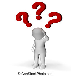 vraagtekens, op, man, het tonen, verwarring, en, onzekerheid