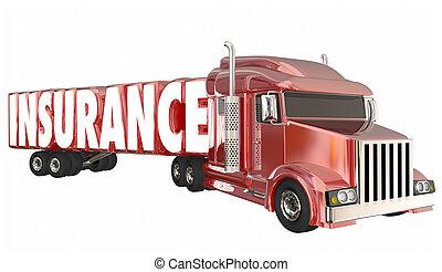 vracht, bestuurder, illustratie, trucking, dekking, polis,...