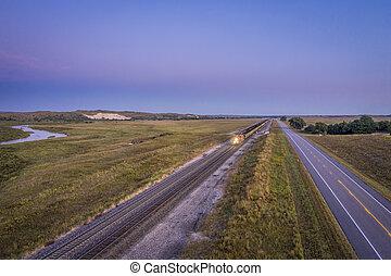 vracht, nebraska, steenkool, treinen, sandhills