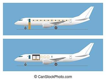 vracht vliegtuig, lijnvliegtuig, straalvliegtuig