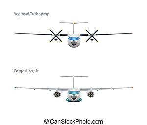 vracht vliegtuig, regionaal, turboprop, &
