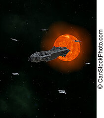 vrachtschip, escorte, ruimte, diep, schepen