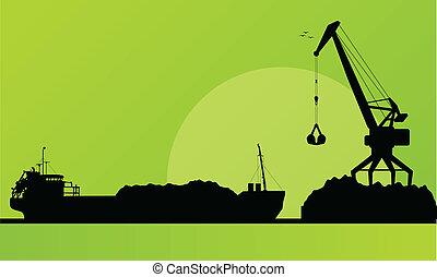 vrachtschip, in, haven, steenkool, inlading, met, kraan,...