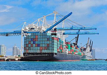 vrachtschip, op, miami, haven
