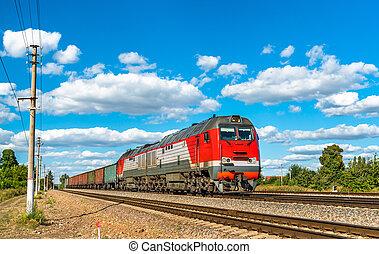 vrachttrein, op, konyshevka, station, in, rusland