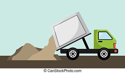 vrachtwagen, afval, ontwerp