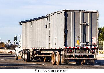 vrachtwagen, autoweg, californië, geleider