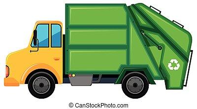 vrachtwagen, container, groene, vuilnis
