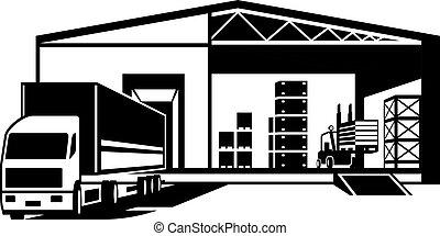 vrachtwagen, dronken, goederen, in, magazijn