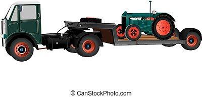 vrachtwagen, en, tractor