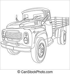 vrachtwagen, flatbed