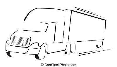 vrachtwagen, illustratie, symbool, vector