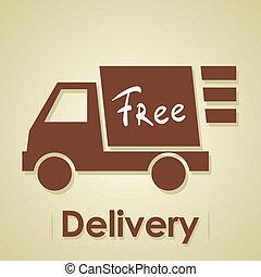 vrachtwagen, kosteloos, delivery.