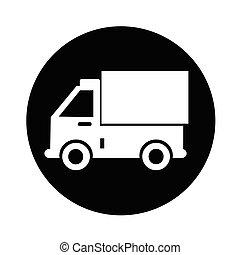 vrachtwagen, ontwerp, illustratie, pictogram