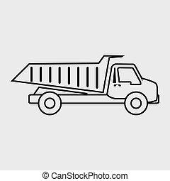 vrachtwagen, ontwerp, stortplaats