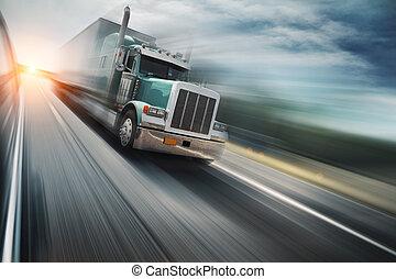 vrachtwagen, op, autoweg