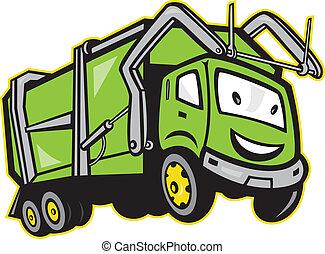 vrachtwagen, restafval, vuilnis, spotprent
