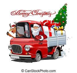 vrachtwagen, retro, kaart, spotprent, kerstmis
