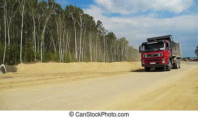 vrachtwagen, rood, gaat