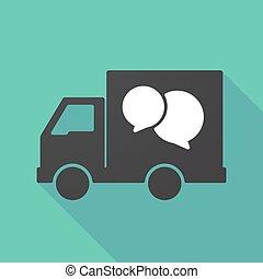 vrachtwagen, schaduw, ballons, komisch, lang