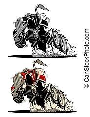 vrachtwagen, semi, spotprent