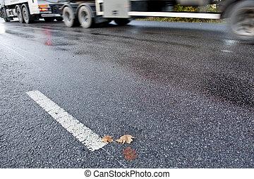 vrachtwagen, slipgevaar