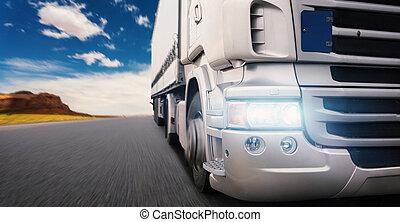 vrachtwagen, snelweg