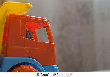 vrachtwagen, speelbal, bestuurder, beer