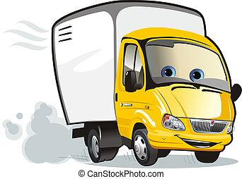 vrachtwagen, spotprent