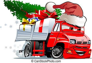 vrachtwagen, spotprent, kerstmis