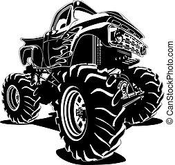 vrachtwagen, spotprent, monster