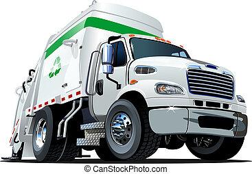 vrachtwagen, spotprent, restafval