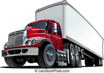 vrachtwagen, spotprent, semi
