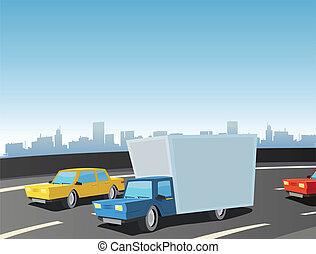 vrachtwagen, spotprent, snelweg