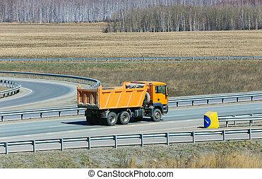 vrachtwagen, stortplaats