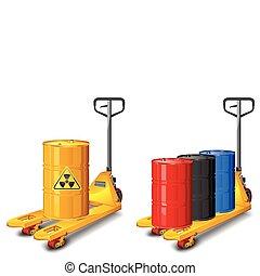 vrachtwagen, vat, afval, grit